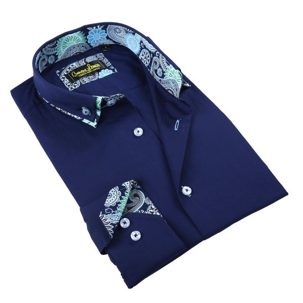 Banana Lemon Men's Navy Patterned Button-down Shirt
