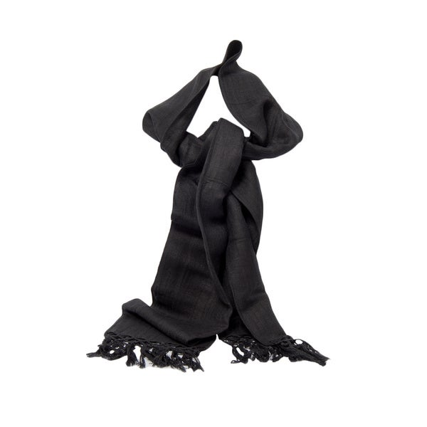 Black Handwoven Linen and Viscose Scarf (India)