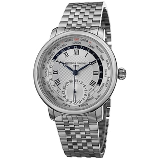 Frederique Constant Men's FC-718MC4H6B 'World timer' Silver Dial Stainless Steel Automatic Watch