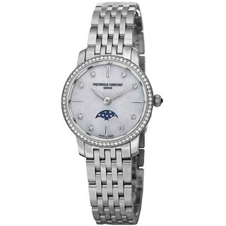Frederique Constant Women's FC- 206MPWD1SD6B 'Slim Line' Mother of Pearl Diamond Dial Stainless Steel Watch