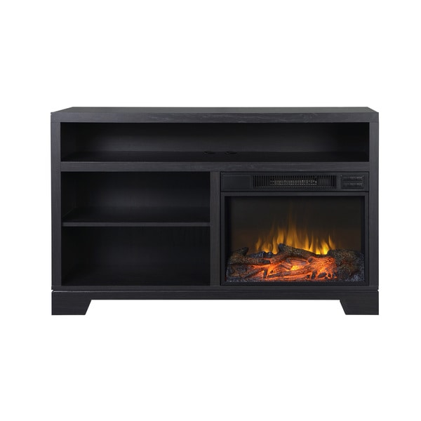 Vancouver Black Oak Media Console Fireplace
