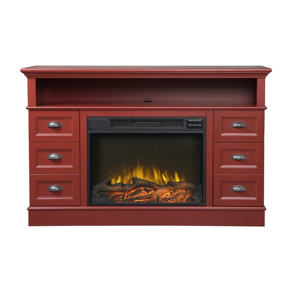 Bremen Red Media Console Fireplace