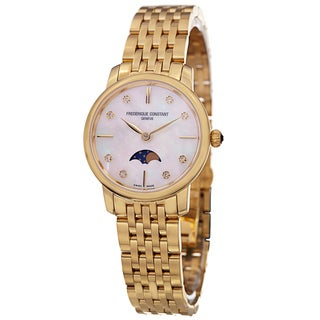 Frederique Constant Women's 'Slim Line' Mother of Pearl Dial Yellow Goldtone Stainless Steel Watch
