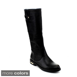 Reneeze Janet-01 Women's Knee-High Reptile Finish Riding Boot