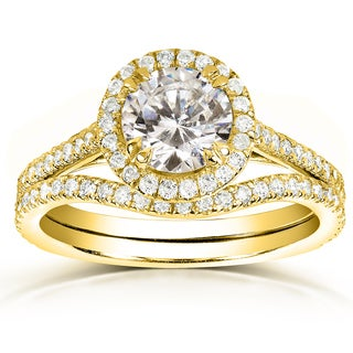 Annello 14k Yellow Gold 1 1/2ct TDW Round-cut Halo Diamond Bridal Rings Set (H-I, I1-I2)
