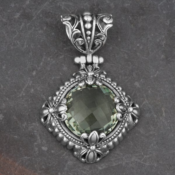 Sterling Silver Green Amethyst 'Green Fields' Cawi Pendant (Indonesia)