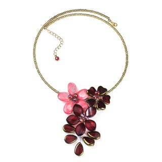 Sweet Floral Romance Mother of Pearl and Crystal Choker (Thailand)