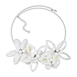 Modern Petals Mother of Pearl Feminine Flowers Choker (Thailand)