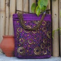 Purple Embroidered Silk Evening Bag with Beads and Mirrors (India)