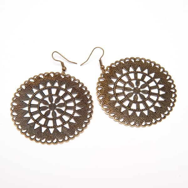 Goldtone Filigree Earrings (India)