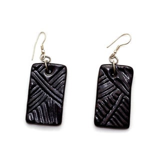 Midnight Rectangular Ceramic Earrings (India)
