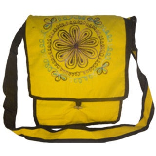 Handmade Yellow Boho Cotton Shoulder Bag (Nepal)