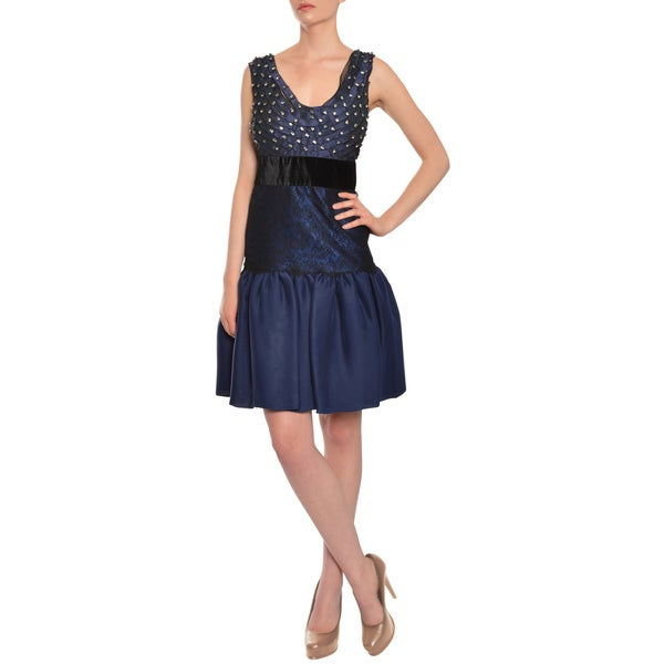 Alberta Ferretti Women's Dark Blue Evening Cocktail Dress