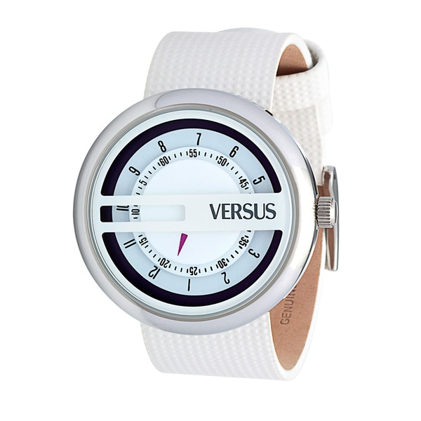 Versus by Versace Women's SGI030013 'Osaka' Round White Leather Band Watch
