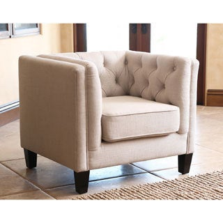 ABBYSON LIVING Marcella Ivory Linen Fabric Armchair