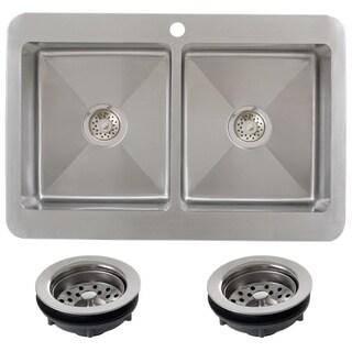 Ticor TR1800BG-TREG 33 Inch 16 Gauge Double Bowl Stainless Steel Overmount Drop-in Kitchen Sink
