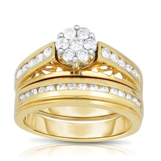Eloquence 14k Two-Tone Gold 1ct TDW Round 2-Piece Wedding Set (H-I, I2-I3)