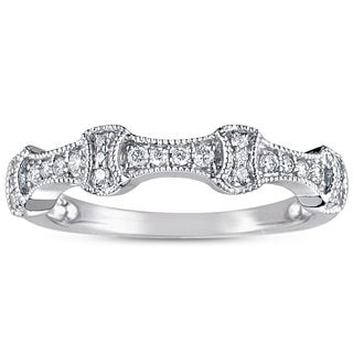 Eloquence 14k White Gold 1/5ct TDW Vintage Style Diamond Band (H-I, I1-I2)