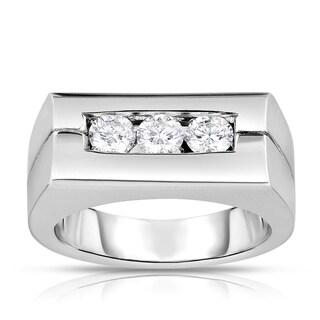 Eloquence 14k White Gold 3/4ct TDW Men's Rectangle Diamond Ring (I-J, SI1-SI2)