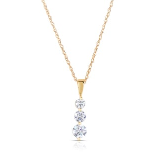 Eloquence 18k Yellow Gold 1ct TDW Diamond Journey Pendant (H-I, SI1-SI2)