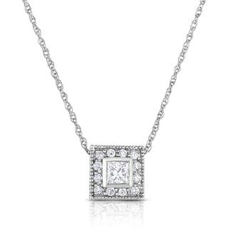 Eloquence 14k White Gold 1/2ct Princess-cut Diamond Halo Pendant (G-H, SI1-SI2)