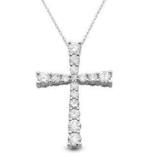 Eloquence Platinum 1/3ct TDW Diamond Cross Pendant (G-H, I1-I2)