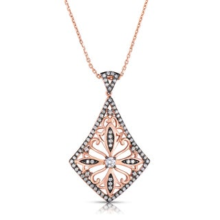 Eloquence 14k Rose Gold and Rhodium 1/2ct TDW Diamond Pendant (H-I, I1-I2)