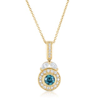 Eloquence 14k Yellow Gold 7/8ct TDW Blue and White Diamond Pendant (J-K, I1-I2)