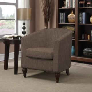 Portfolio Marly Chocolate Brown Linen Barrel Arm Chair