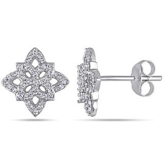 Miadora 10k White Gold 1/3ct TDW Vintage Diamond Stud Earrings (H-I, I2-I3)