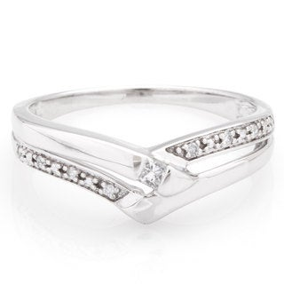 14k White Gold 1/10ct TDW Princess Cut Diamond Band (H-I, I1)