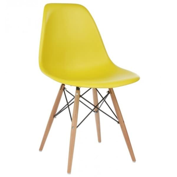 Yellow Plastic Dining Shell Chair