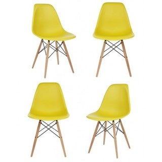 Yellow Plastic Dining Shell Chair (Set of 4)