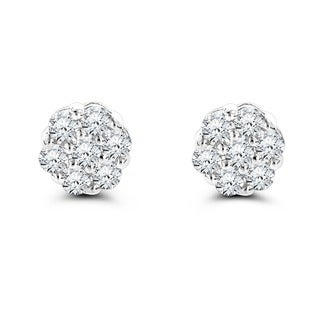 Luxurman 14k White Gold 1ct TDW Round-cut Prong-set Diamond Earrings (G-H, VS1-VS2)