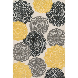 Hand-tufted Tatum Ivory/ Charcoal Wool Rug (5'0 x 7'6)