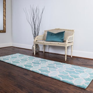 Hand-tufted Tatum Aqua Wool Runner Rug (2'3 x 7'9)