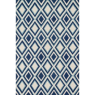 Hand-tufted Tatum Ivory/ Blue Diamond Wool Rug (7'9 x 9'9)