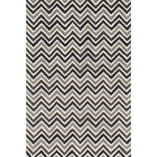 Hand-tufted Tatum Ivory/ Grey Chevron Wool Rug (7'9 x 9'9)