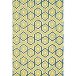 Hand-tufted Tatum Lemon/ Aqua Wool Rug (3'6 x 5'6)
