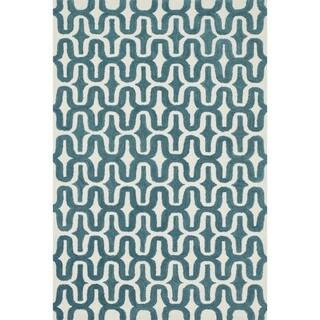 Hand-tufted Tatum Ivory/ Teal Wool Rug (7'9 x 9'9)