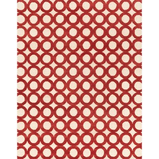 Hand-tufted Tatum Ivory/ Red Wool Rug (7'9 x 9'9)