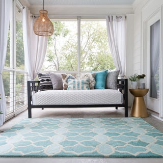 Hand-tufted Tatum Aqua Wool Rug (7'9 x 9'9)