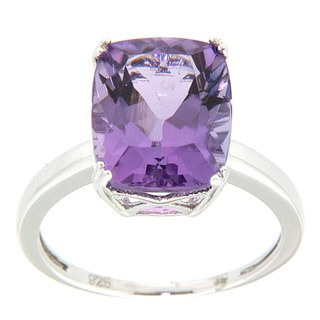 Pearlz Ocean Sterling Silver Amethyst Solitaire Ring
