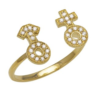 Beverly Hills Charm 10k Gold 1/10ct TDW Gender Symbol Flexible Stretch Diamond Ring (H-I, I2-I3)