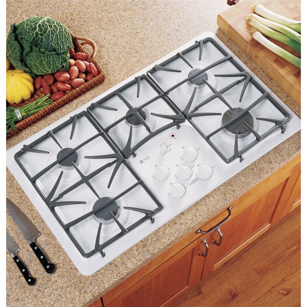 GE White Stainless Steel Gas Cooktop