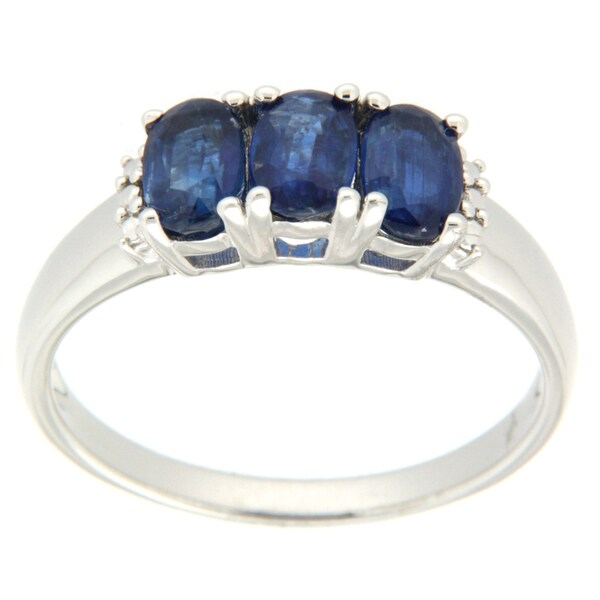 Pearlz Ocean Blue Kyanite Three Stone Ring
