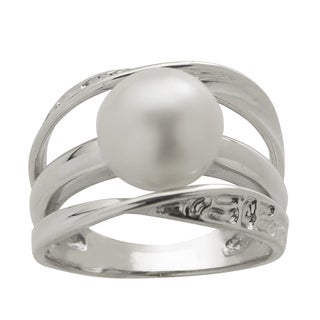 Pearls For You Sterling Silver White Freshwater Pearl Ring (9.5-10 mm)