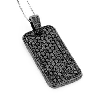 Sterling Silver 7 1/6ct TDW Black Diamond Dog Tag Necklace