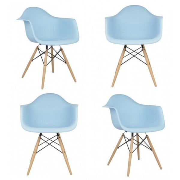 Contemporary Retro Molded Eames Style Blue Accent Dining Armchair (Set of 4)