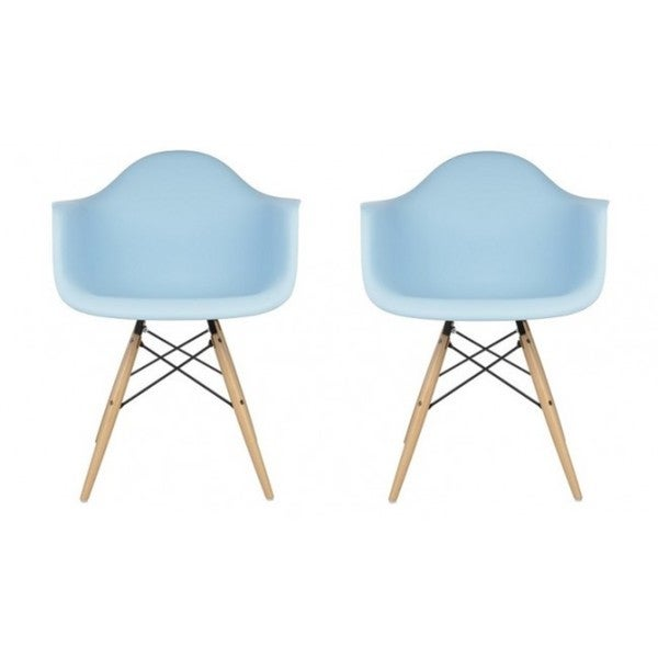 Contemporary Retro Blue Accent Plastic Dining Armchair (Set of 2)